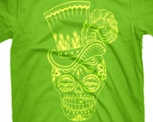 Sugar Skull with Top Hat, T-Shirt Lime Green Mens Unisex Tee, Size S, M, L, XL