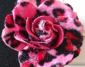 Pair of Leopard Print Hair Roses clips. Pink or classic Brown. Psychobilly/Rockabilly/Punk.