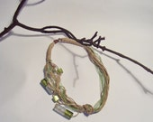 Linen necklace or bracelet  with silver-green glass beads.Eco friendly jewelry,hand crafted Gift under 20, gift for her