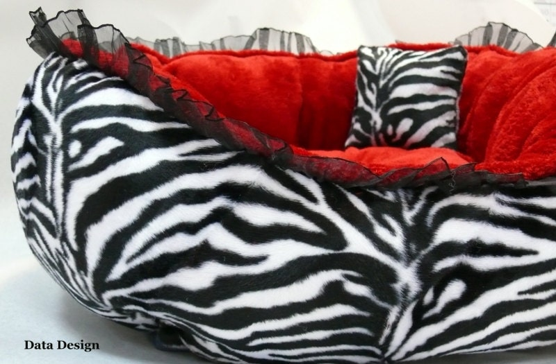 Black Red White Dog Bed Zebra Print And Minky Fur Yorkie