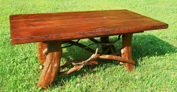Rustic Coffee Table Handmade Log Cabin Furniture, Reclaimed Wood Coffee Table, Cottage Decor, Primitive Furniture by J. Wade FREE SHIPPING