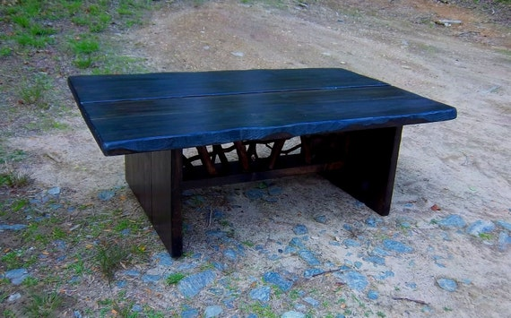 Rustic Modern Handmade Mountain Laurel and stained pine Coffee Cocktail Table Log Cabin Furniture by J. Wade Free Shipping