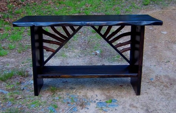 Rustic Modern Handmade Mountain Laurel and stained pine Sofa Console Table Log Cabin Furniture by J. Wade Free Shipping