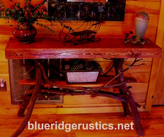 Rustic Handmade Mountain Laurel and stained pine sofa console Table Log Cabin Furniture by J. Wade Free Shipping