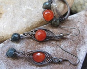 Wire Wrapped Earrings and a Ring Sterling Silver and Ruby