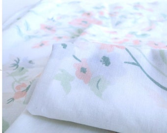 Vintage Pillow Cases Floral Pattern 1980s with Peach and Periwinkle Flowers and Vines