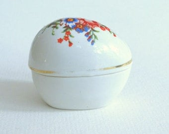 Vintage Gold Rimmed Egg Shaped White with Red Flowers Ceramic Trinket Box