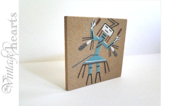 Vintage Navajo Sand Painting in turquoise