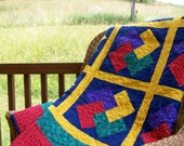 Queen-size Card Trick quilt, boldly colored, rasta colors