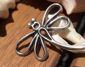 2pcs Dragonfly connector finding sterling silver plated for leather cord and silk ribbons