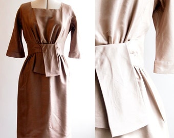 ON SALE 1950's Day dress in nude/bronze dupion, one-off, fully lined, size 12.