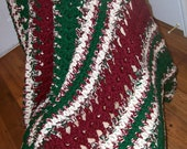 "Acrylic-Blend Crochet Afghan in Burgundy, Forrest Green and Sand 52""x64"""