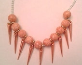 Rose Gold Spike Necklace 18 inch