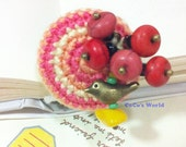 Red Sky Bird--Crocheted Brooch