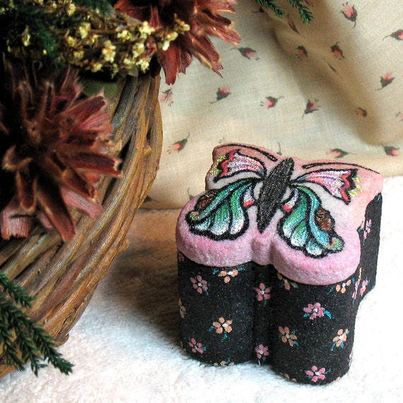 Hand Painted Butterfly Trinket Box