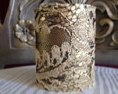 Gold & Black Vintage Lace with Goldtone Satin Finish Metal Cuff Bracelet