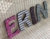 Wood Letters YOU CUSTOMIZE - Pink & Black Theme - All sales support our sports activities and summer camps.