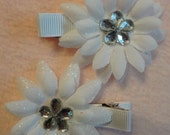Two 2-Layer White Flowers Clippies with White Gem Center