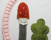 worm, mushroom & leaf handmade with felt