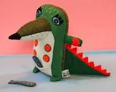Hank the little crocodile, handmade plush animal alligator, wool & felt stitched