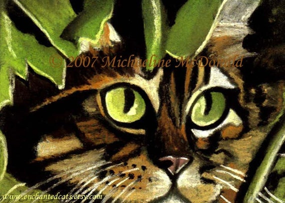 Cat eyes painting art print by Michaeline 5x7 inches