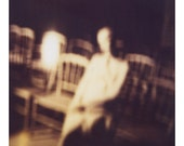 Polaroid Photograph of Woman and Gold Chairs with Mysterious, Soft Focus, Atmosphere- 15x15cm