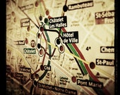 Paris Metro  - Photograph of Vintage French Subway Map with Grainy, Antique Quality and Haunting Feel - 15x15cm