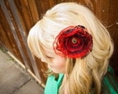Red and black lace flower broach/clip