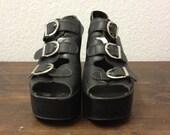 vintage leather buckle wedge platform shoes by trash 13 vintage