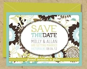 Custom DIY Printable Double Sided - Photo Postcard SAVE the DATE  -  'Vintage Floral""