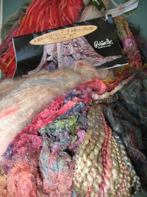 COLINETTE Absolutely Fabulous Hand-Dyed Throw Kit. FOUR Styles in ONE in Cornucopia