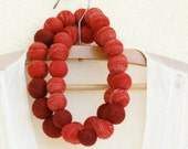 Autumn Red wool felted necklace - Eco-friendly and big handcrafted beads