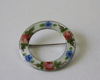Vintage La Mode Sterling Silver Circle Enamel Brooch with Forget Me Nots and Cabbage Roses