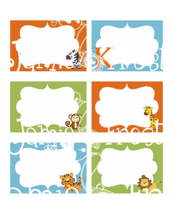 Items Similar To Safari Printable Label On Etsy