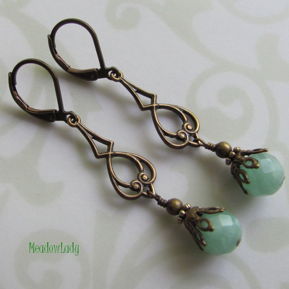 Sale Jewelry - Aqua Green Earrings-Amazonite Vintage Inspired Earrings-Long Dangle Earrings by MeadowLady