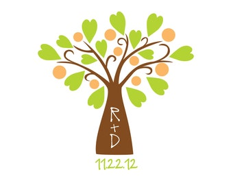 Tree Carved Initials Wedding Monogram
