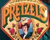 HAGUES PRETZELS CANISTER - Vintage Hagues Pretzels Octagon Canister hinged tin