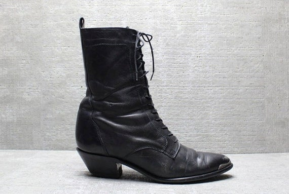Vtg 80s Black Leather Western Tall Lace up Roper Boots 8