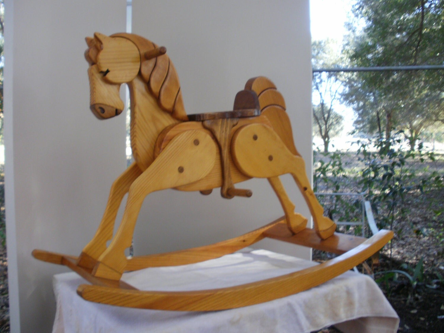 Hand made heirloom wooden rocking horse by almostanythingwood for Hand crafted rocking horse