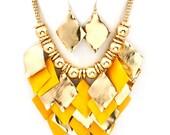 Yellow Eye Catching Necklace & Earring Set