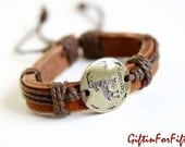Capricorn - Zodiac Horoscope Constellation Genuine Leather Bracelet Bangle With Waxed Cord Raw Sienna Color OOAK by Giftin For Fifteen