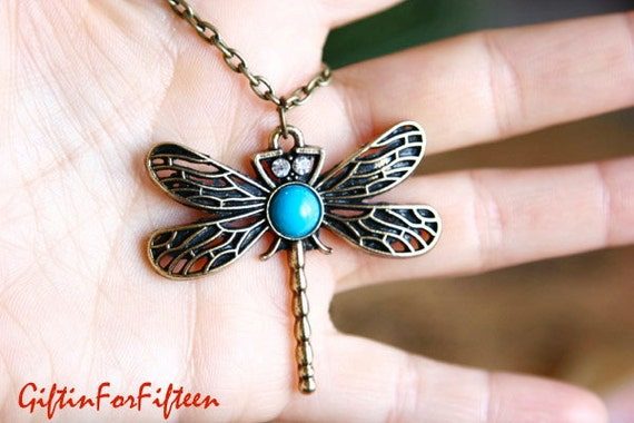Dragon In Flight - Unisex Vintage Style Jewelry Dragonfly Necklace Antique Copper Plated Steampunk OOAK by Giftin For Fifteen