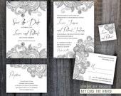 Printable Floral Template Wedding Invitation Set / Custom colors / DIY Wedding / Digital files / Save the date / Gift tag