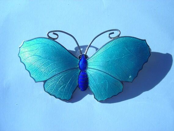 Sterling silver, JA&S enamel butterfly brooch, glorious blue