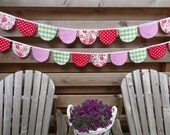 Fabric banner in pink, green and red