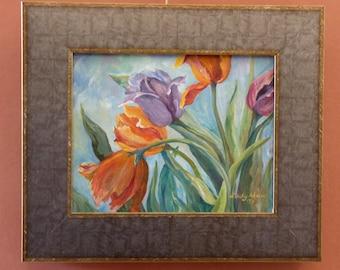 Tulips original oil painting