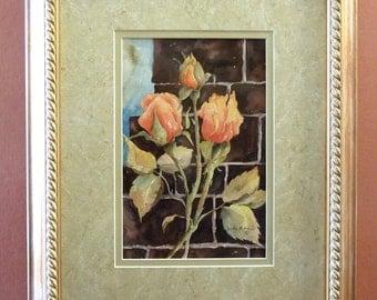 orange roses handpainted  original watercolor painting
