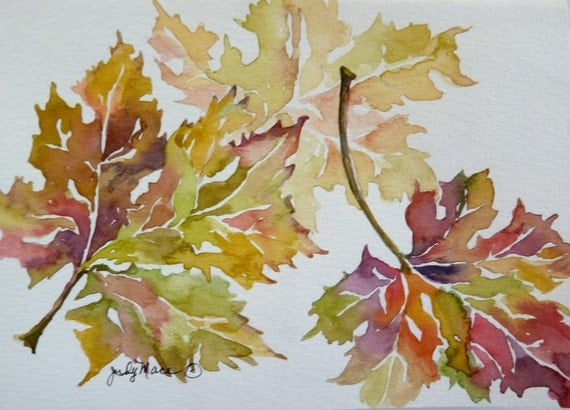 Original autumn leaves  watercolor greeting card