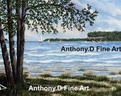 """Original ACEO Painting / Artist PRINT / """" Perfect Picnic Place"""" Landscape By Anthony D"""