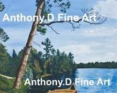 "Original ACEO Painting / Artist PRINT / "" Cottage Break"" Landscape By Anthony D"
